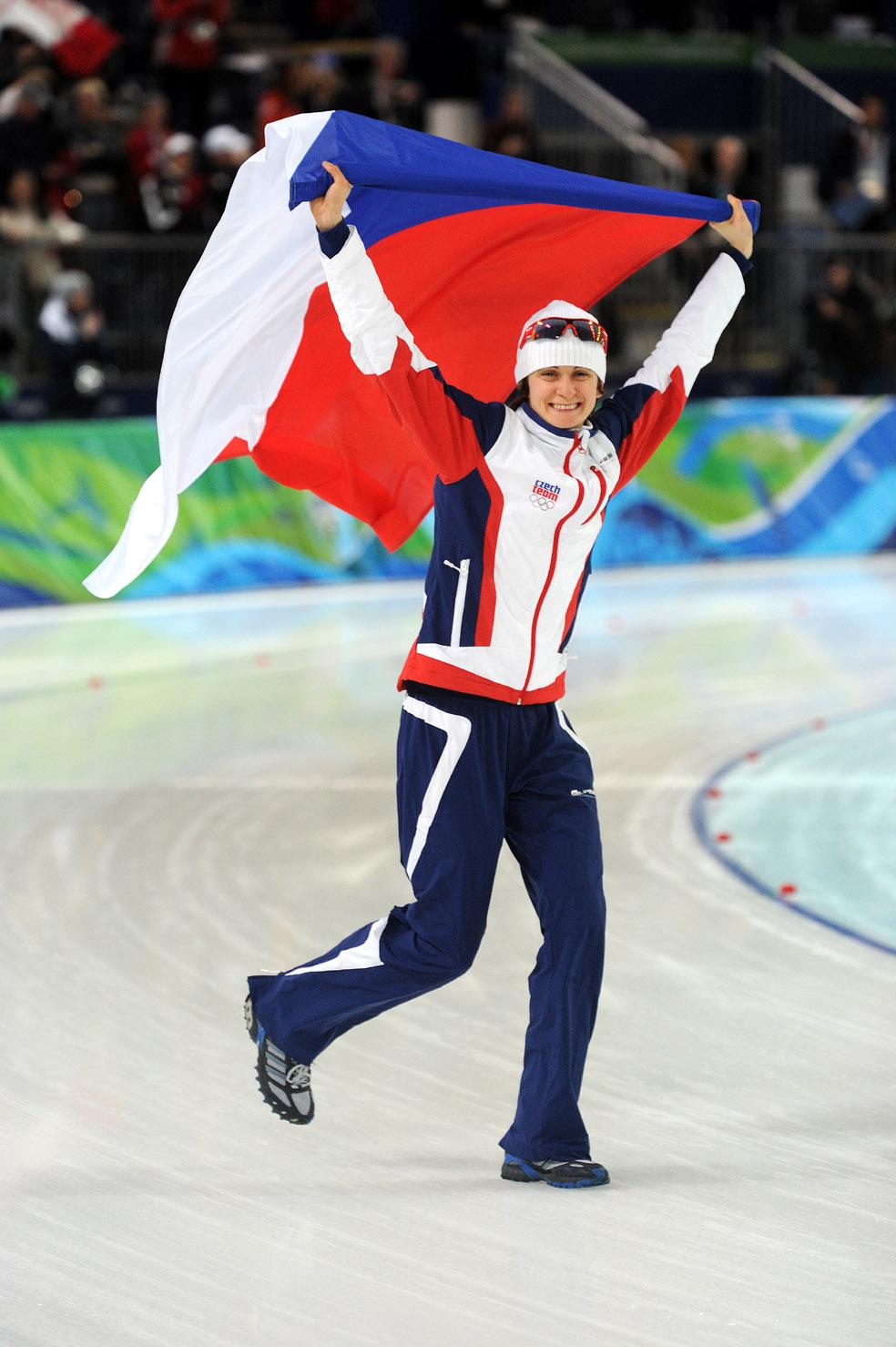 Martina Sáblíková s vlajkou