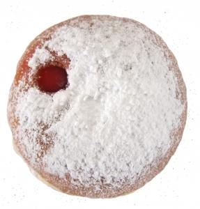 Kobliha pocukrovaná moučkovým cukrem.